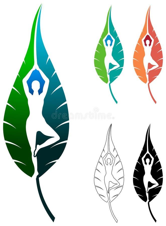 Yogablad royaltyfri illustrationer