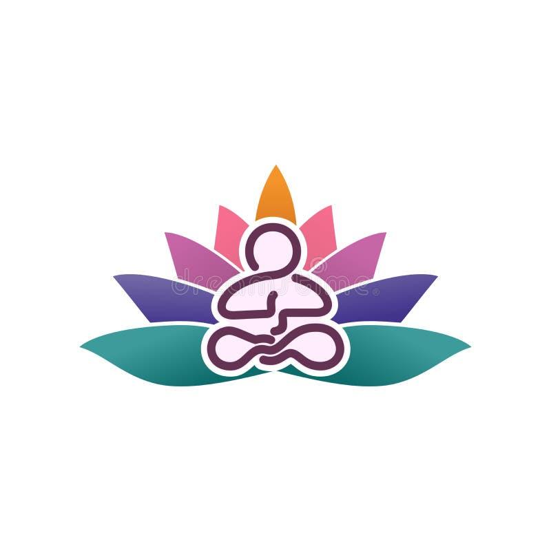 Yogaembleem Een groot embleem voor het bedrijf medititationembleem Het embleem van de lijnkunst farious kleurenembleem stock afbeeldingen