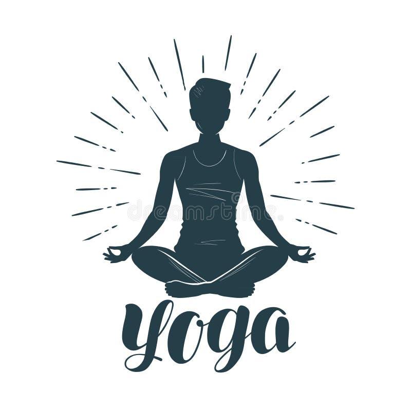 Yogaembleem of etiket Geschiktheid, meditatiesymbool Vector illustratie stock illustratie