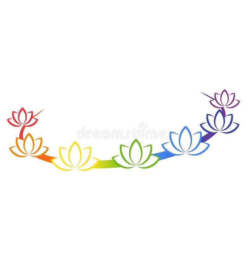 Yogaemblem med abstrakta chakralotusblommor som isoleras på vit royaltyfri illustrationer