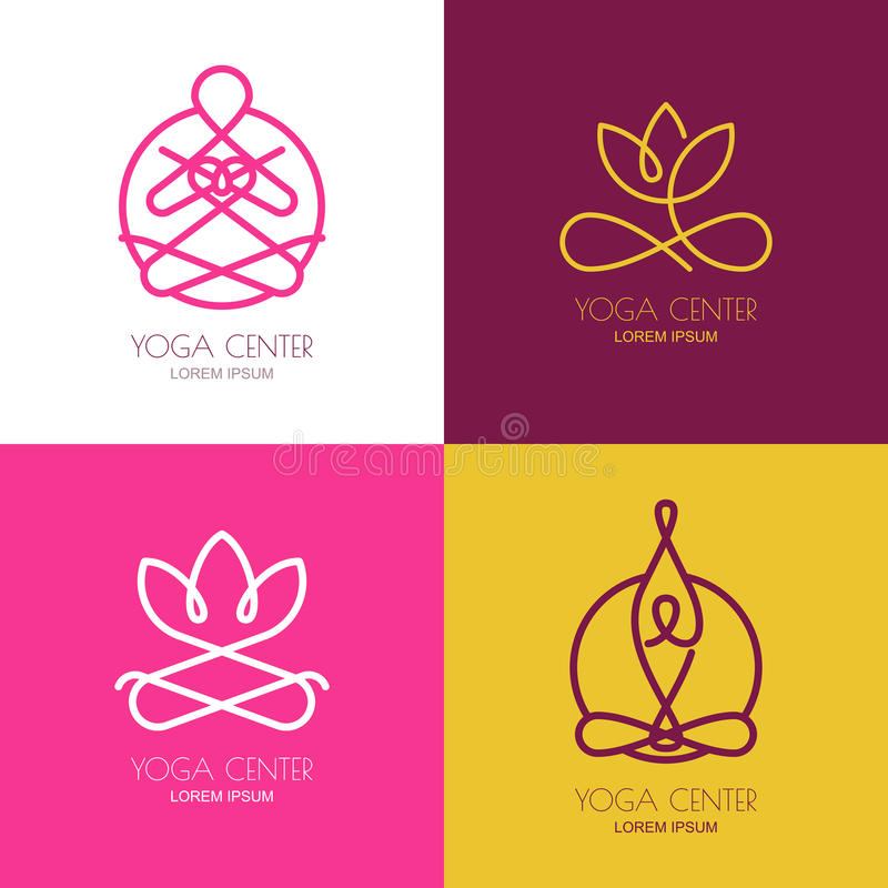 Yogaentwurfs-Logogestaltungselemente Satz Vektoryogaikonen und stock abbildung