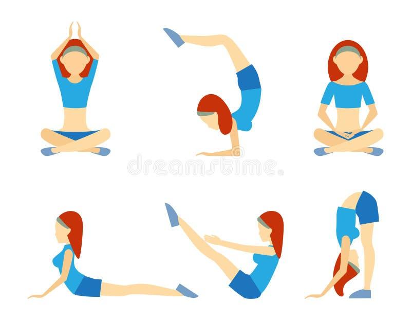 Yogaflicka i sex positioner royaltyfri illustrationer