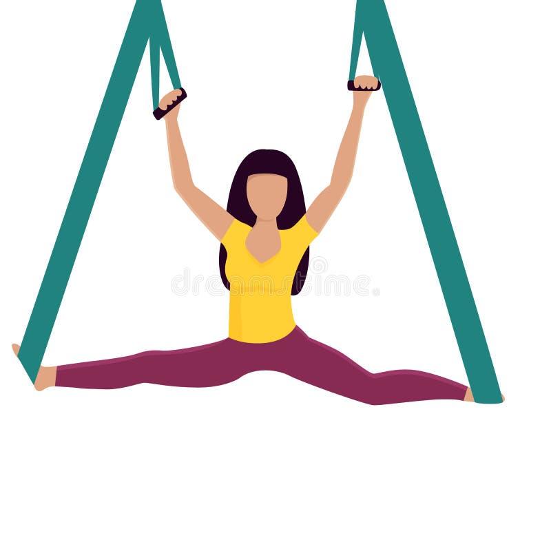Yogaflicka som gör splittringar med hängmattavektorillustrationen vektor illustrationer