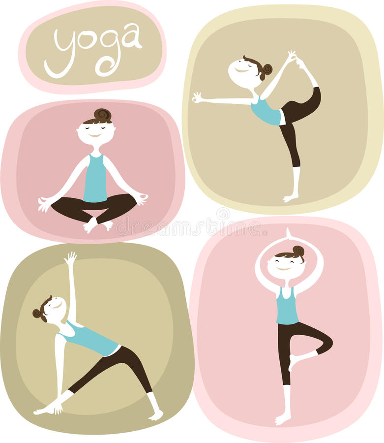 Yogaflickor stock illustrationer
