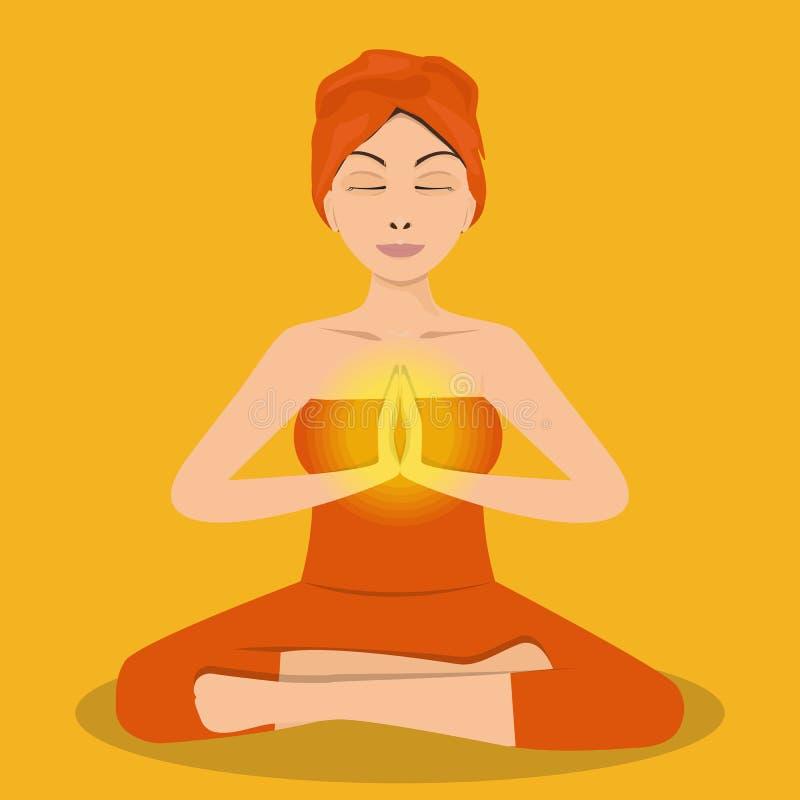 Yogafrau in der Lotoshaltung Meditierendes Mädchen Auch im corel abgehobenen Betrag lizenzfreie abbildung