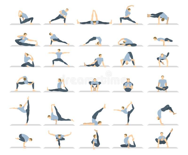 Yogagenomkörareuppsättning royaltyfri illustrationer