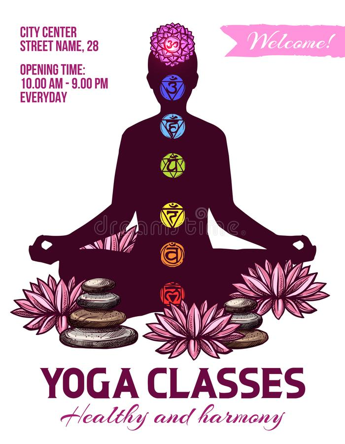 Yogagrupper, människa i lotusblomma poserar, chakras undertecknar stock illustrationer