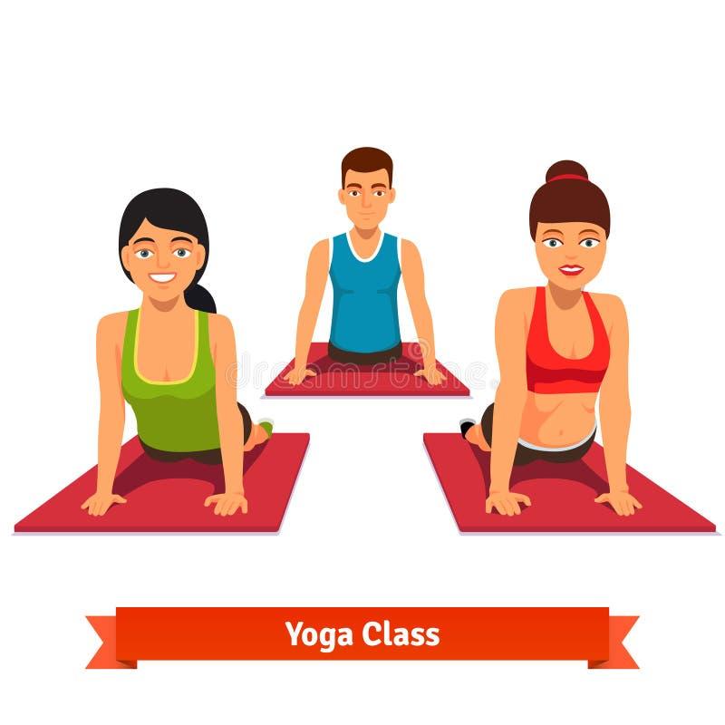 Yogagruppgenomkörare Ungt och sunt folk royaltyfri illustrationer