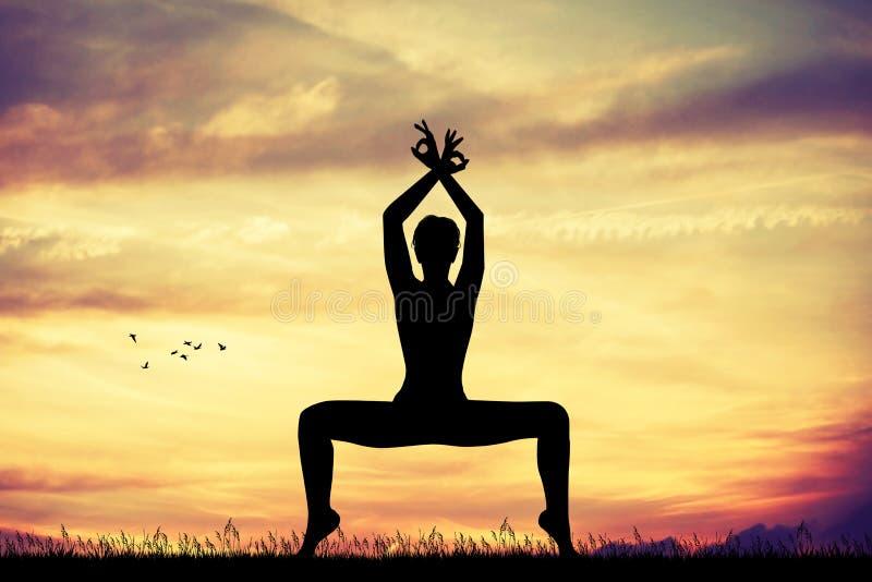 Yogahaltung am Sonnenuntergang vektor abbildung
