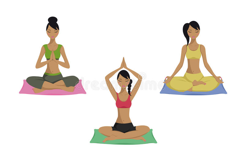 Yogahaltungen eingestellt stockfoto