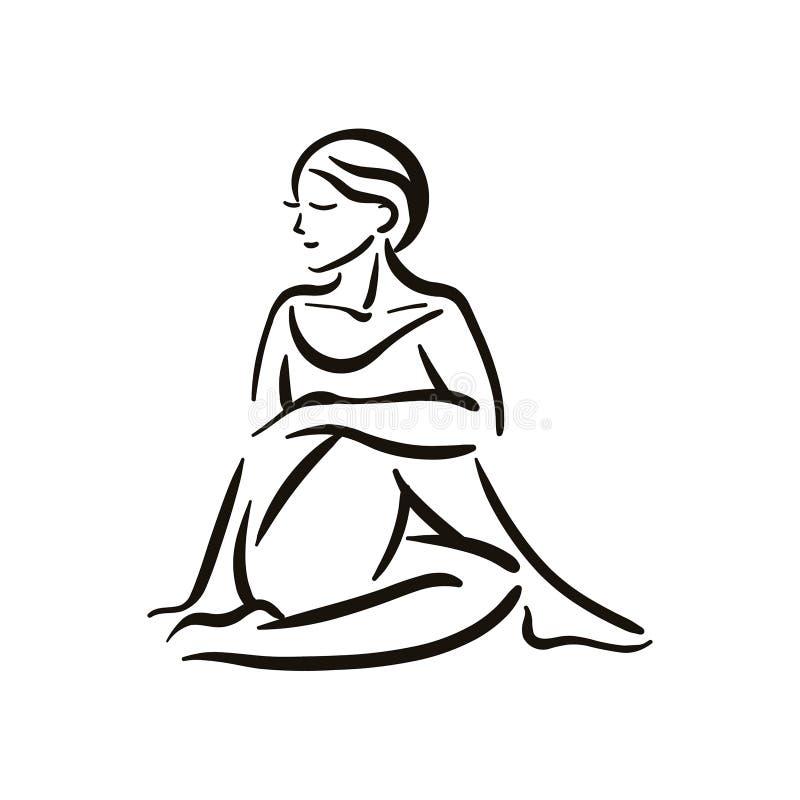 Yogahaltungsillustration auf weißem backgroundRelax und meditieren Gesunder Lebensstil Balancentraining lizenzfreie abbildung