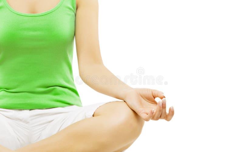 Yogahand, kvinnameditationsammanträde i Lotus Pose royaltyfria bilder