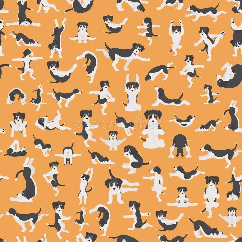 Yogahundehaltungen und -übungen, die clipart tun Nahtloser Musterentwurf des lustigen Karikaturplakats vektor abbildung
