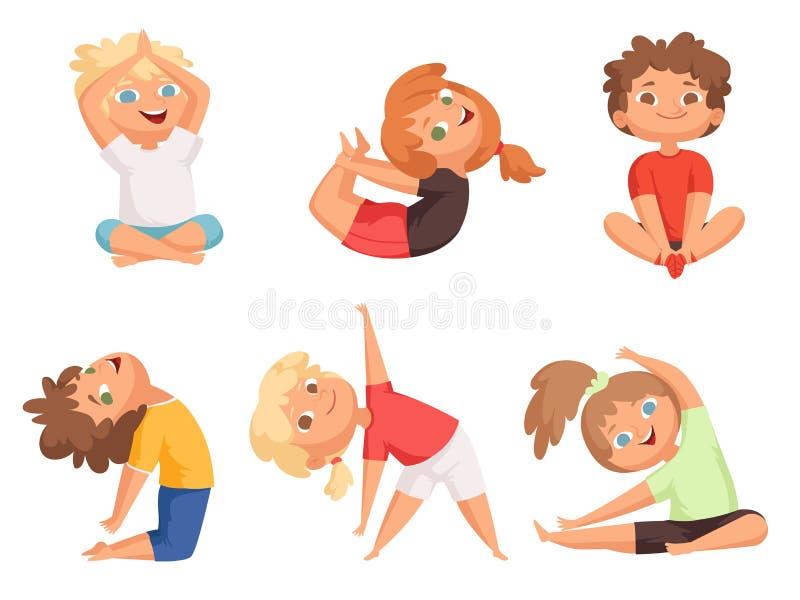 Yogajonge geitjes Kinderen die tot verschillende yogaoefeningen maken jonge gymnastiek vectorkarakters stock illustratie