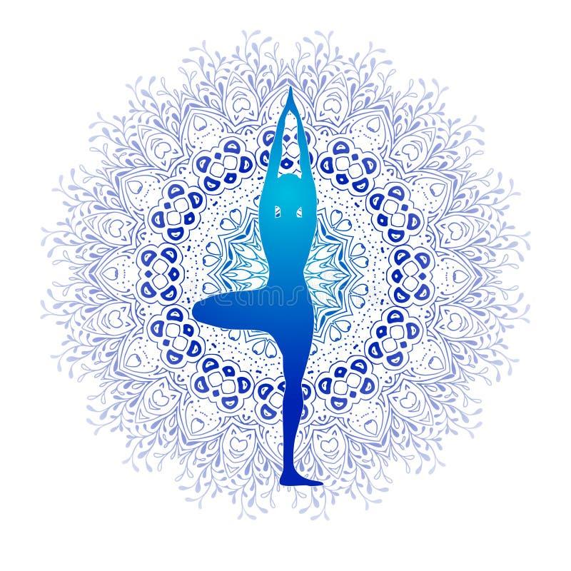 Yogakondition, yogalogo, kondition och sportklubba, vektorlogomall Yoga poserar planlagt mot blå mandala med vektor illustrationer