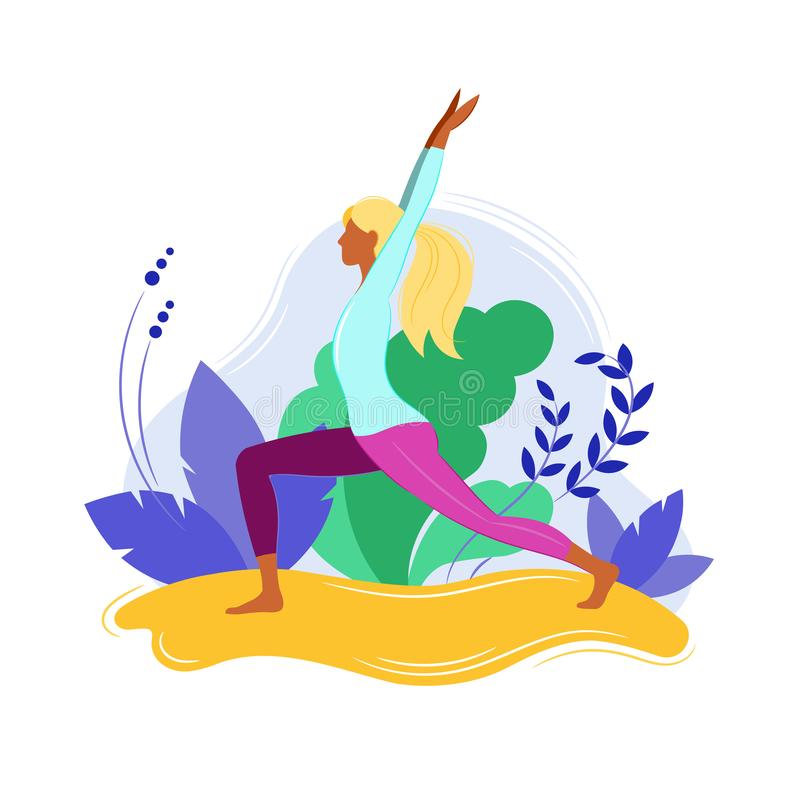 Yogakonditionbegrepp Sportkvinnor stock illustrationer