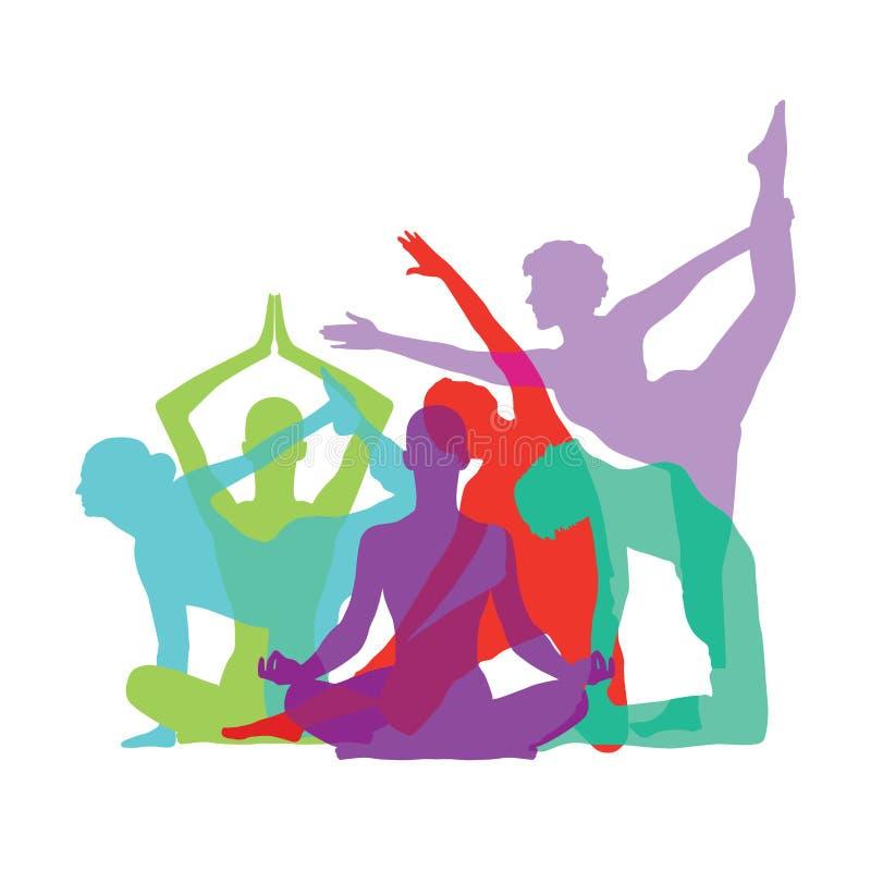 Yogakonturer royaltyfri illustrationer