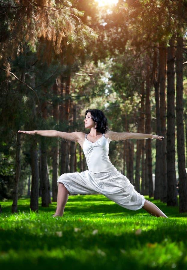 Yogakriegerhaltung im Park stockfotografie