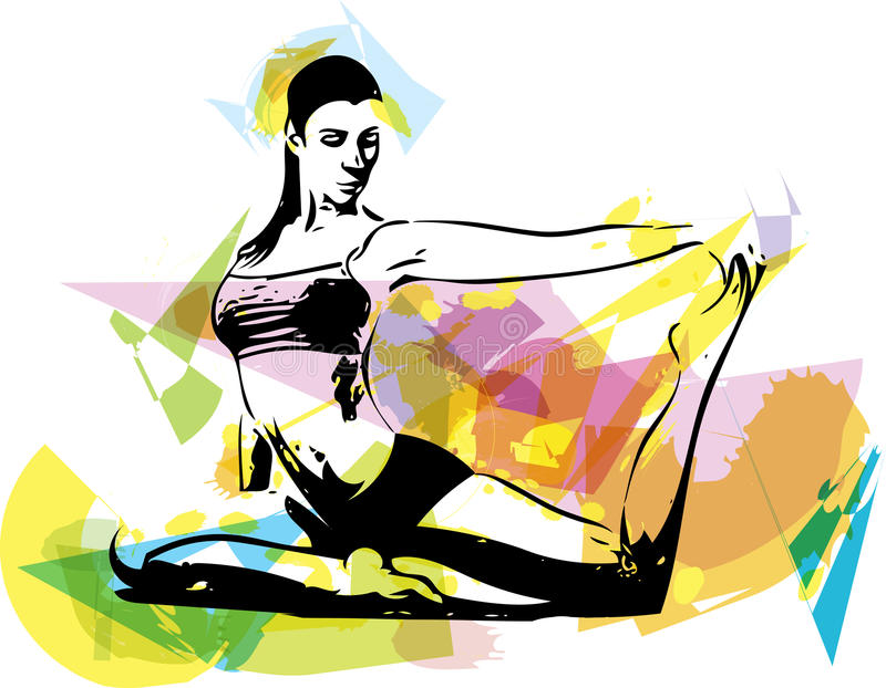 Yogakvinnaillustration stock illustrationer