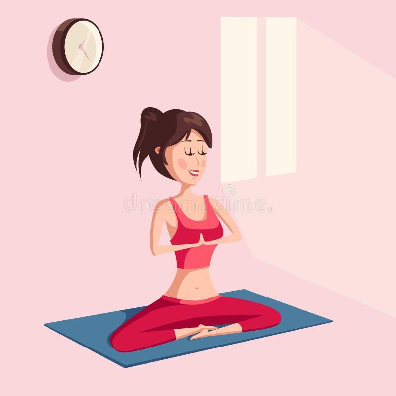 Yogakvinnan i lotusblomma poserar meditation eller genomkörare stock illustrationer