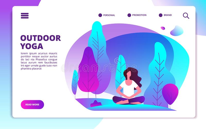 Yogalandingspagina Vrouw die geschiktheidstraining doen Het gezonde leven en meditatie in bosweb vlakke ontwerpsjabloon vector illustratie