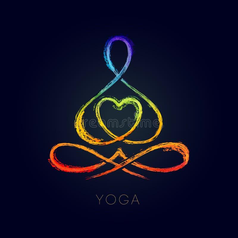 Yogalinjen diagram i en lotusblomma poserar vektor illustrationer