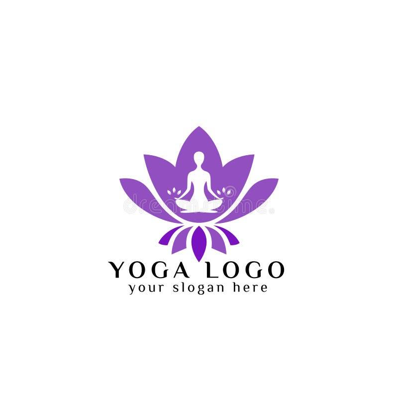 Yogalogo-Designvorrat menschliche Meditation in der Lotosblumen-Vektorillustration in der purpurroten Farbe vektor abbildung