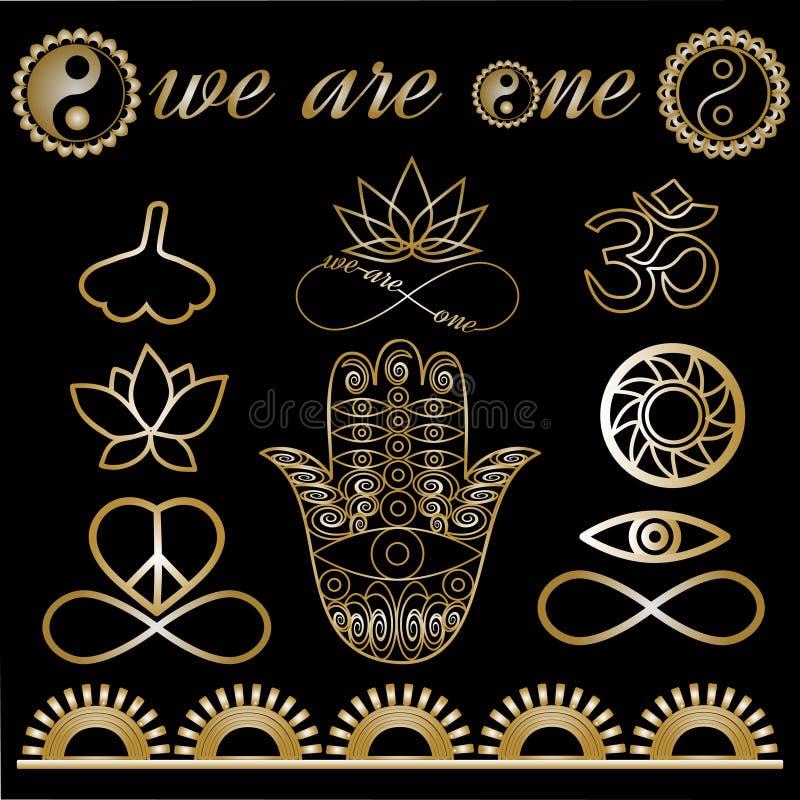 Yogalogoen, yogasymboler, andliga symboler för mystiker, guld- linjer tatuerar setf vektor illustrationer