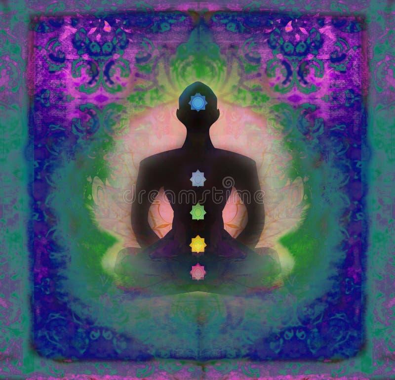 Yogalotoshaltung. Padmasana mit farbigen chakra Punkten. stock abbildung
