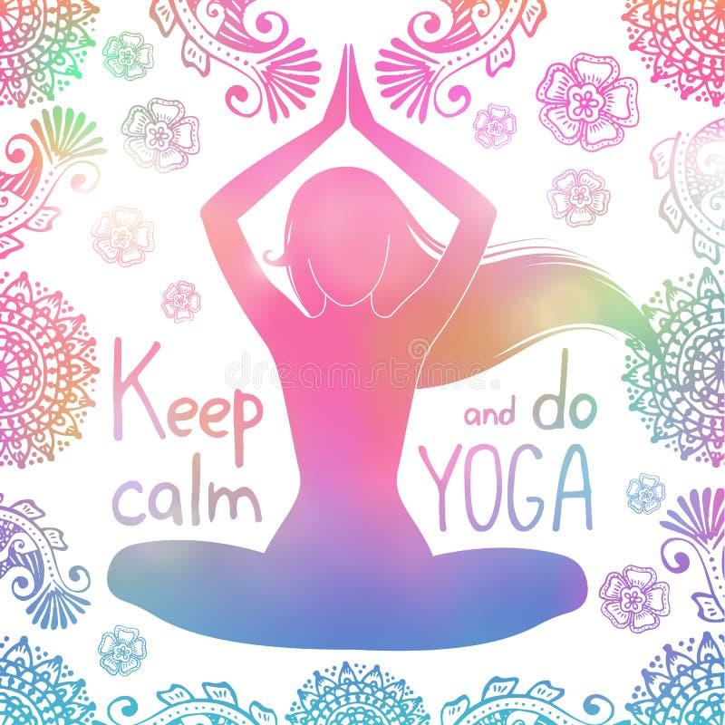 Yogamädchen mit Muster lizenzfreies stockbild