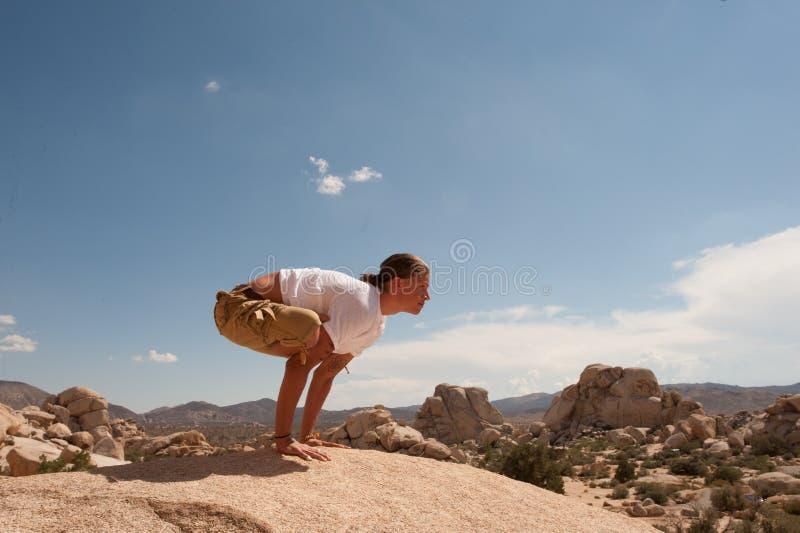 Yogaman i Joshua Tree Desert arkivbild