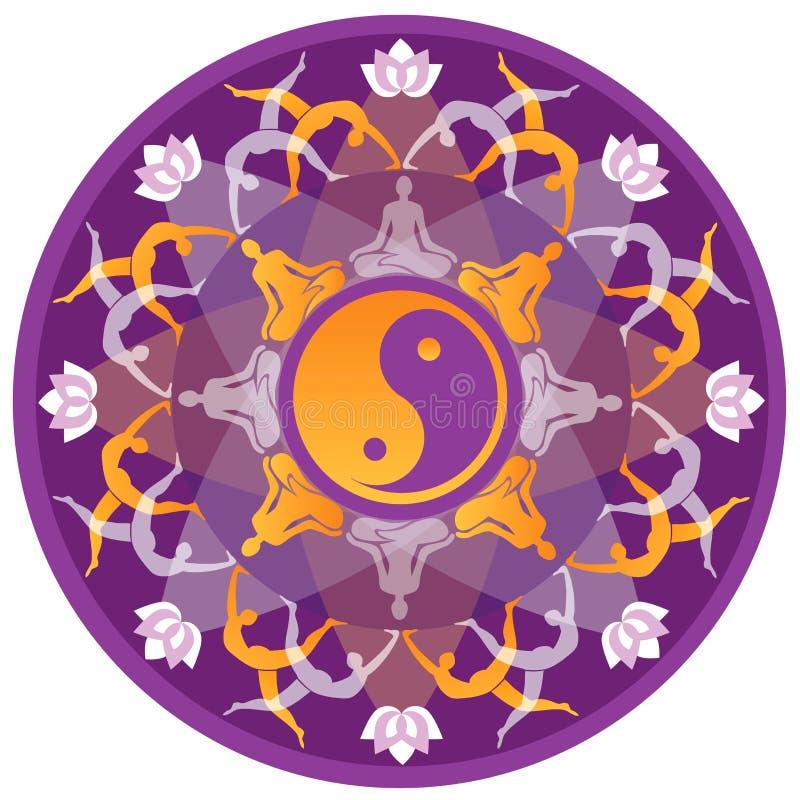 YogaMandala royaltyfri illustrationer