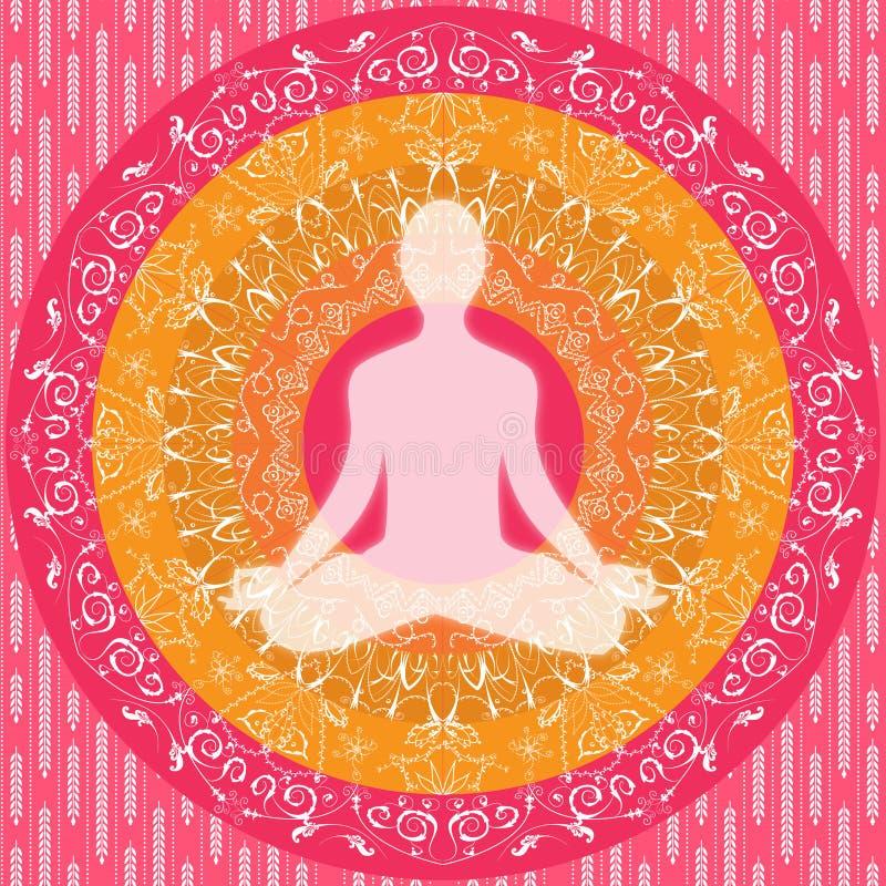 Yogamandalasammanträde poserar den rosa vita apelsinen för den mänskliga konturn vektor illustrationer