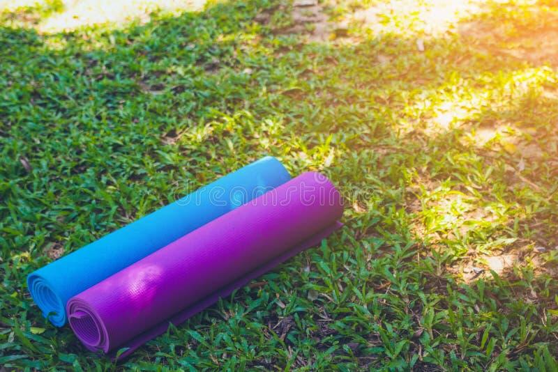 Yogamat op grasachtergrond stock afbeelding