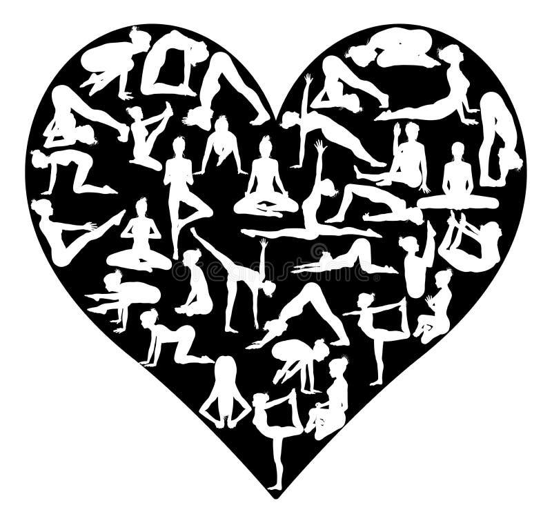 Yogapilateshjärta royaltyfri illustrationer