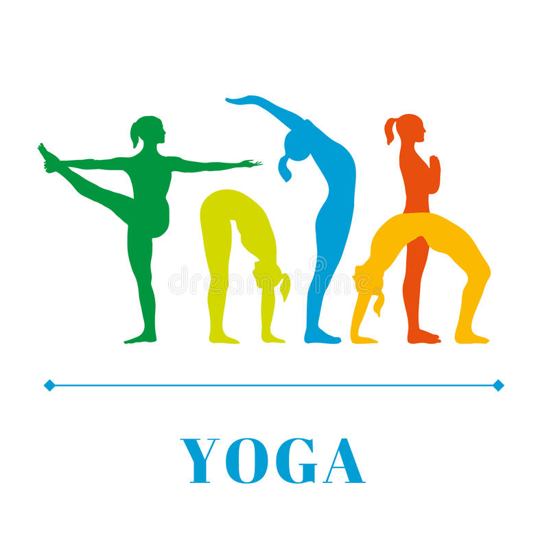 Yogaplakat mit Schattenbildern von Frauen im Yoga wirft auf einem weißen Hintergrund auf stock abbildung