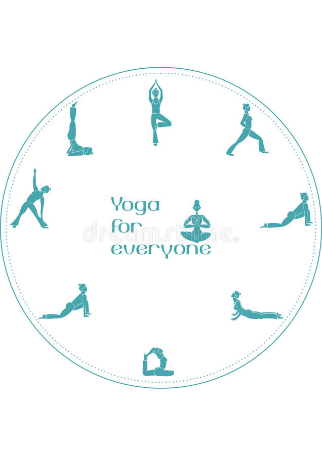 Yogapositioner för alla royaltyfri illustrationer