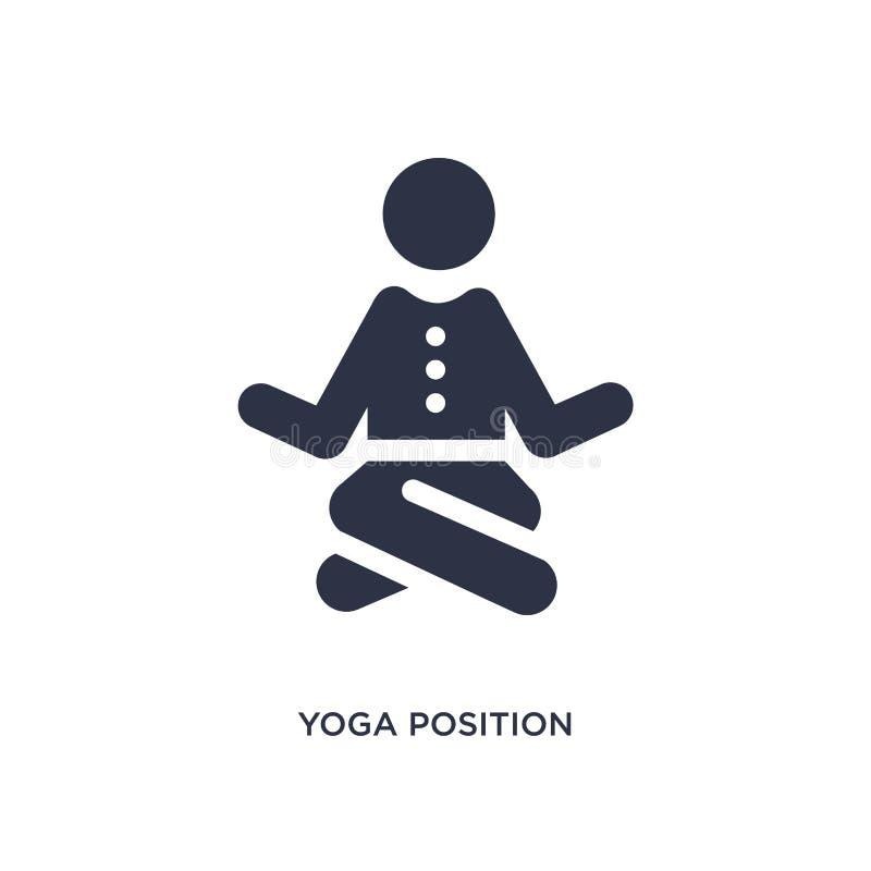 Yogapositionsikone auf weißem Hintergrund Einfache Elementillustration vom Verhaltenkonzept stock abbildung