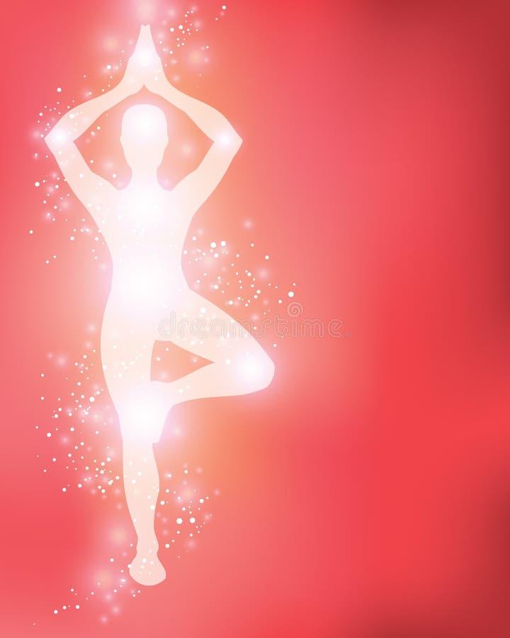 Yogaschattenbild Hintergrund lizenzfreie abbildung