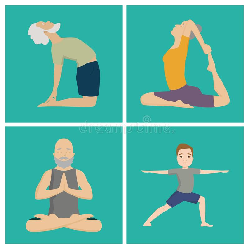 Yogasitz Zeichenklasse Lebensstilillustration der Meditationsleutekonzentration menschliche Friedens vektor abbildung