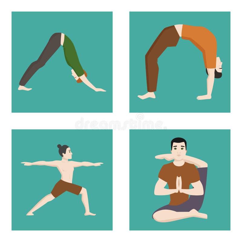 Yogasitze bemannt Lebensstil-Vektorillustration der männlichen Konzentration der Zeichenklasse-Kartenmeditation menschliche Fried vektor abbildung