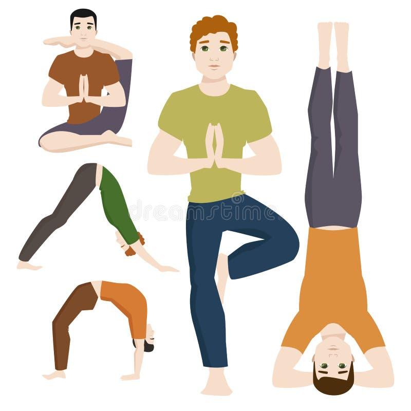 Yogasitze bemannt Lebensstil-Vektorillustration der männlichen Konzentration der Zeichenklasse-Meditation menschliche Friedens lizenzfreie abbildung