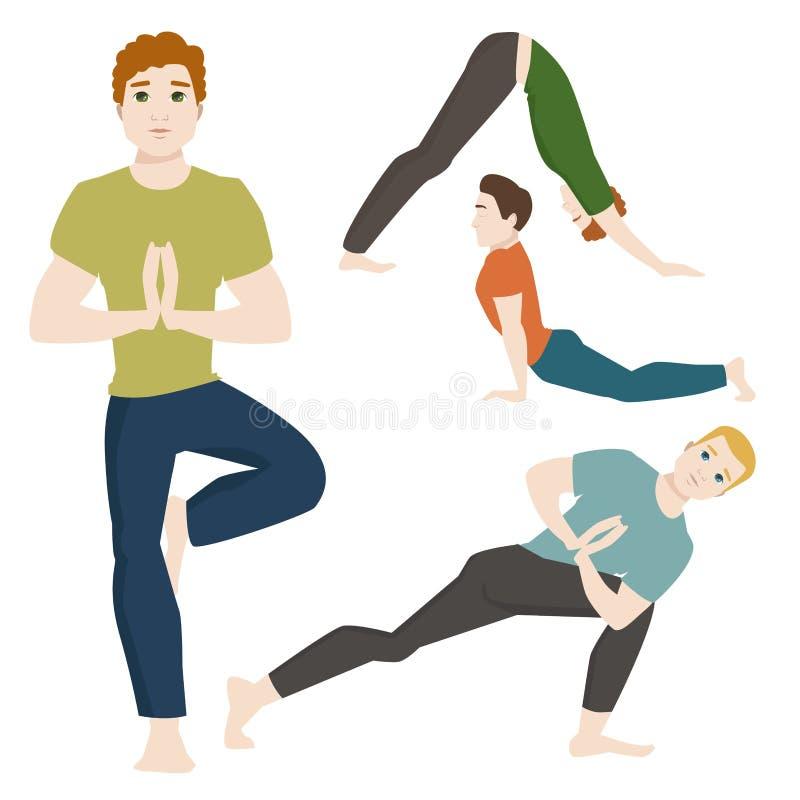 Yogasitze bemannt Lebensstil-Vektorillustration der männlichen Konzentration der Zeichenklasse-Meditation menschliche Friedens stock abbildung