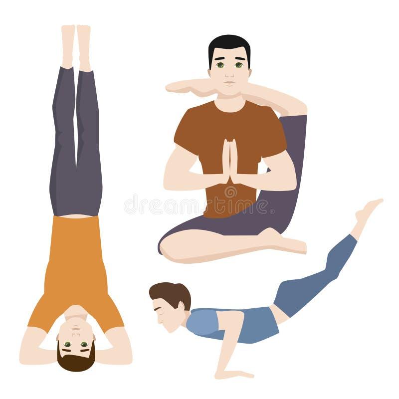 Yogasitze bemannt Lebensstil-Vektorillustration der männlichen Konzentration der Zeichenklasse-Meditation menschliche Friedens vektor abbildung