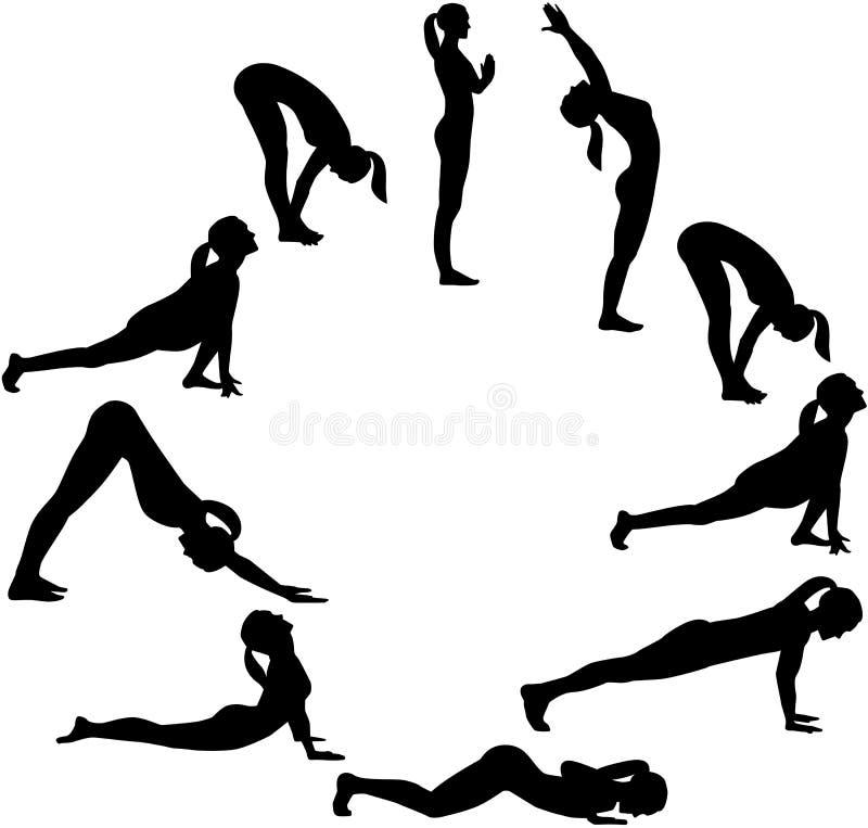 Yogasolhälsning - alla positioner i en cirkel vektor illustrationer
