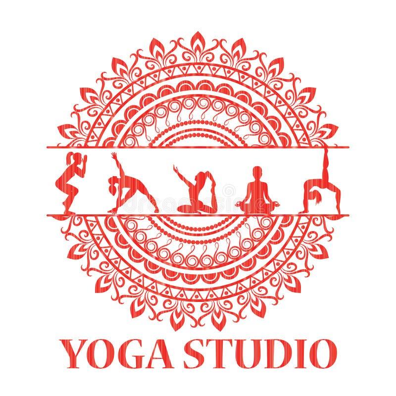 Yogastilmandalaen med konturer i yoga poserar royaltyfri illustrationer