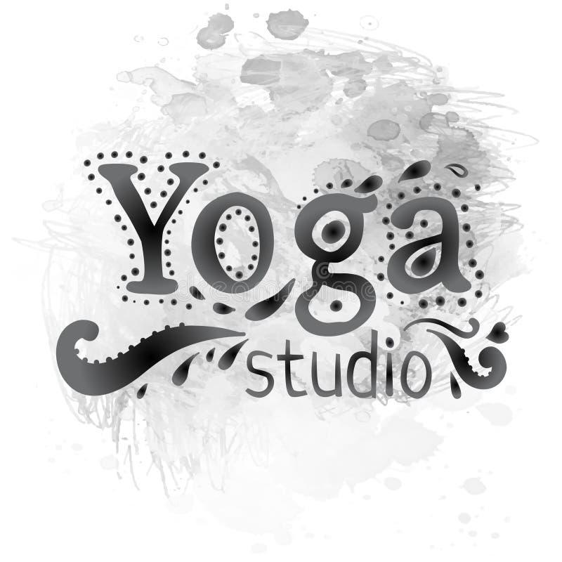 Yogastudio-Entwurfsschablone über Tinten- oder Aquarellhintergrund Hand gezeichnetes Weinleseartgestaltungselement Alchimie, Geis stock abbildung