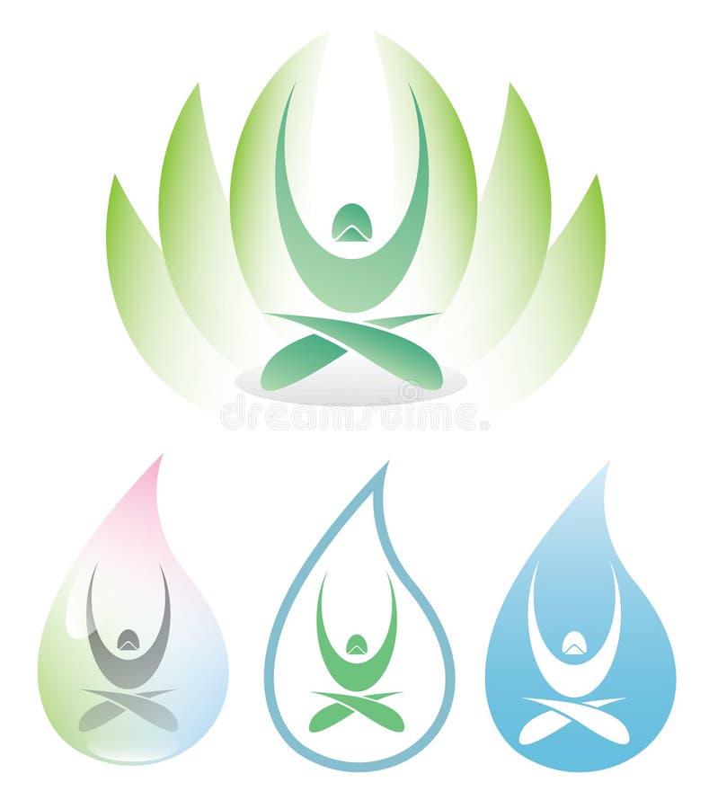 Yogasymbol med lotusblomma royaltyfri illustrationer