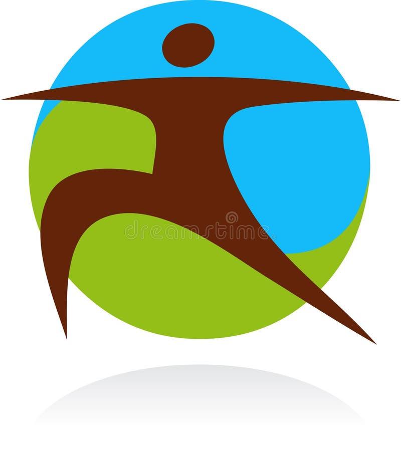 Yogasymbol och logo stock illustrationer