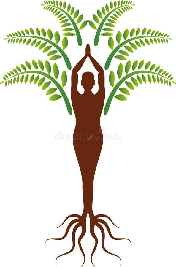 Yogaträdlogo vektor illustrationer